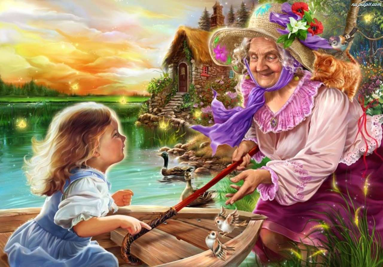 grootmoeder met kleindochter - grootmoeder die het kind op de boot beschermt (14×10)
