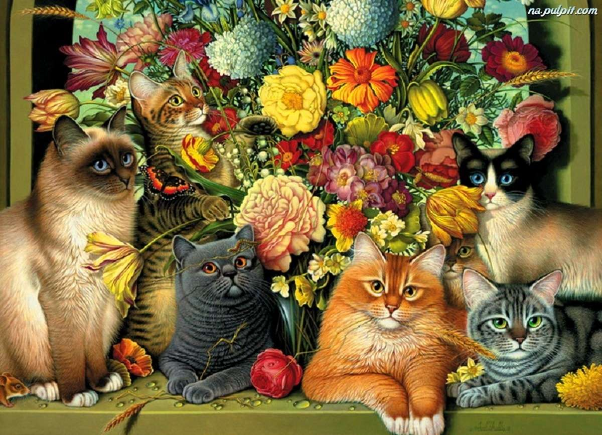 cats in flowers - kittens sitting on the background of flowers (13×10)