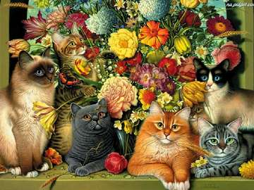 cats in flowers