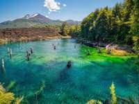 хората плуват в езерото в близост до зелени дървета и планина