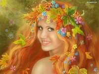 computergraphics - bloemen in het haar