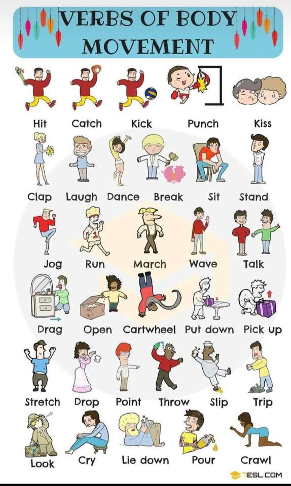 Movements - Learn motion verbs (5×9)