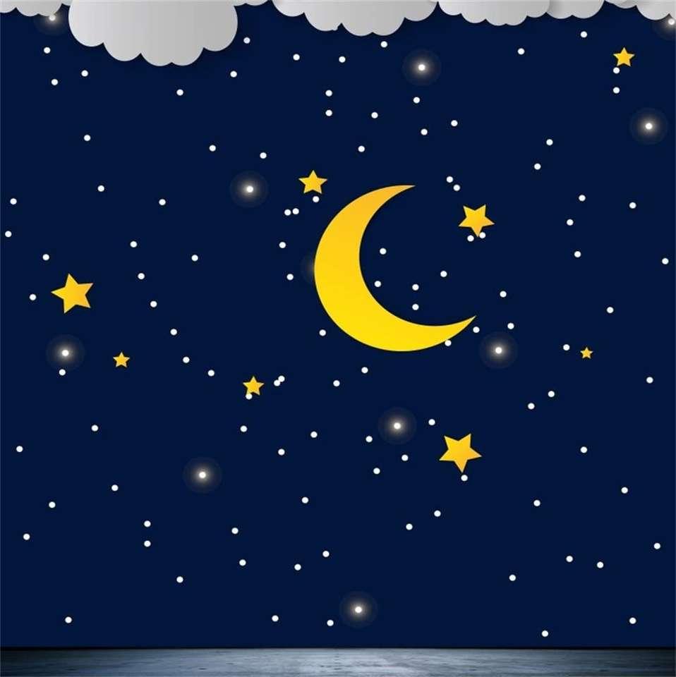 nattetid - På natten kan du se månen och stjärnorna (3×4)