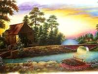 casă lângă râu