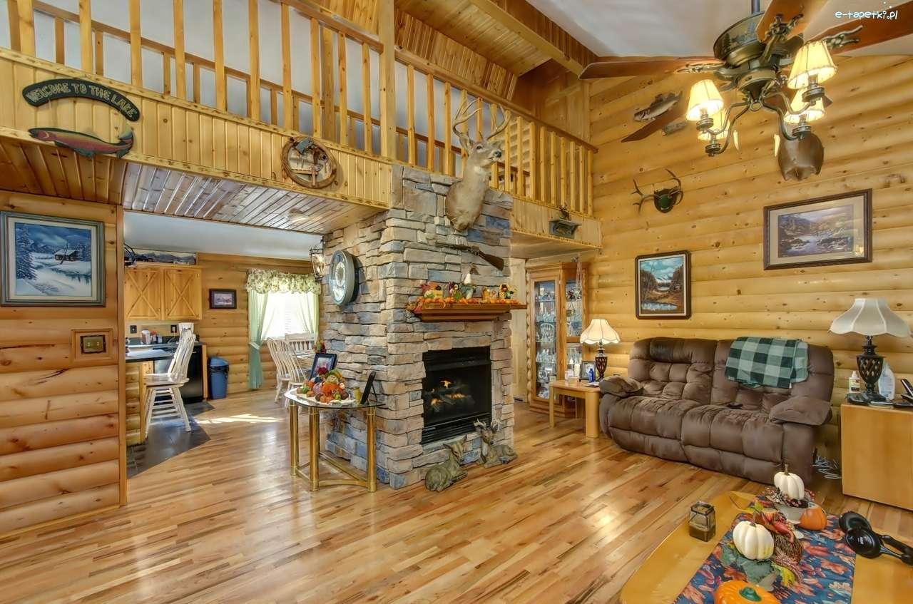 τζάκι σε ένα ξύλινο σπίτι - Μ (13×9)