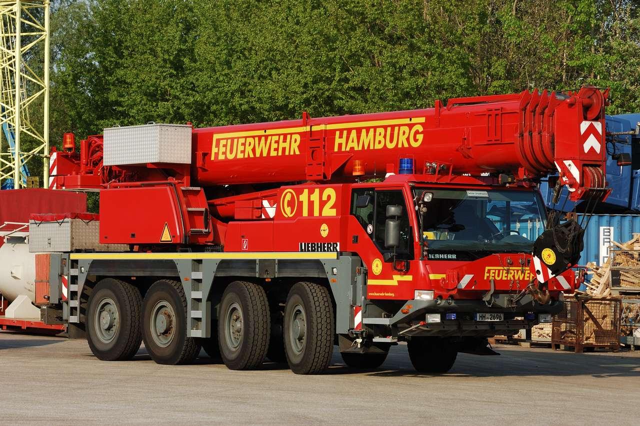 Straż Pożarna Fwk 60 Hamburg - Żuraw strażacki Fwk 60 Liebherr YLTM 1060 Hamburg straż pożarna (12×8)