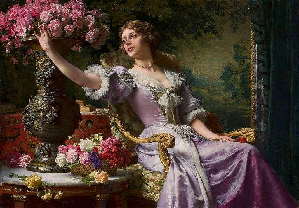 Dame en robe lilas à fleurs (Pour lui) - Dame en robe lilas avec des fleurs (pour lui) - peinture à l'huile de Władysław Czachórski, peinte vers 1903. Actuellement, l'œuvre est dans la collection du Musée national de Varsovie (5×4)