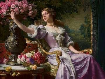 Dame en robe lilas à fleurs (Pour lui)