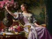 Lady in a lilac dress with flowers (For him)