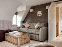 A cozy attic room