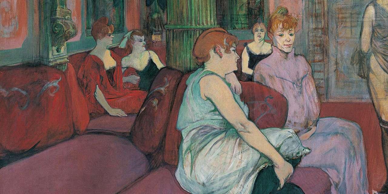 """""""At the Salon ..."""" (1894), door Toulouse-Lautrec - """"Op de Salon de la rue des Moulins"""" (1894). Onder het strenge oog van """"Madame"""" (de patrones die discipline handhaaft), wentelen vier vrouwen in badjassen of gewoon in overall zich van verveling op de (20×10)"""