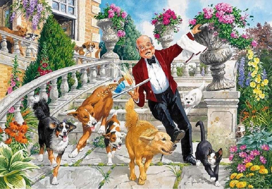 Rakoncátlan kutyák - Kirakós. Háziállatok. Kutyák (12×9)