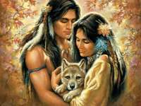 Puzzel met indianen