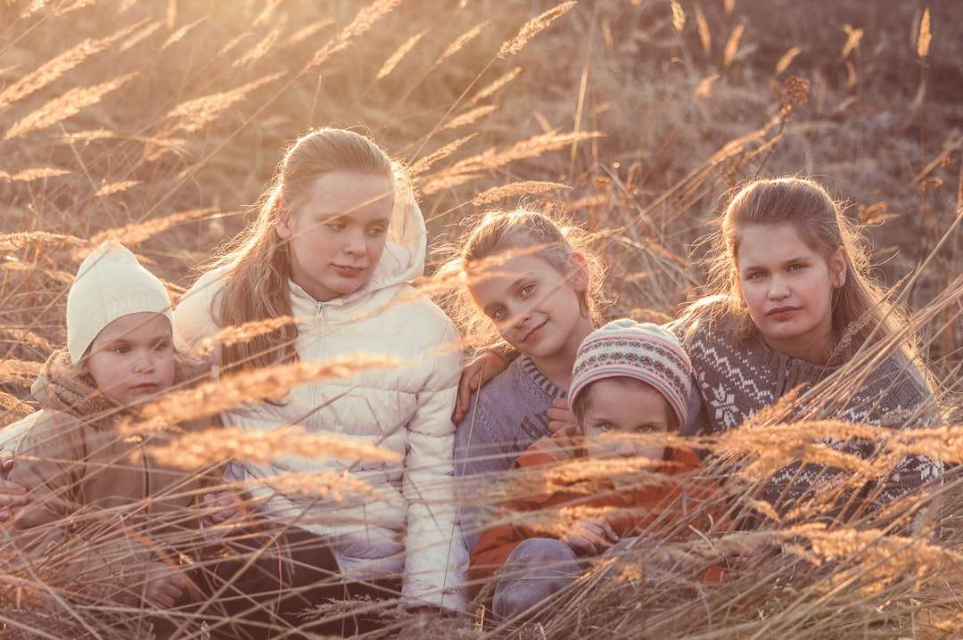 3 Mädchen, die tagsüber auf braunem getrocknetem Gras liegen - Fünf Mädchen, Kinder sitzen bei Sonnenuntergang zusammen im Gras, gekleidet in Jacken und Hüte. Moskau, Россия (10×7)