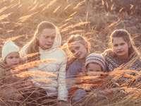 3 meninas deitadas na grama seca marrom durante o dia