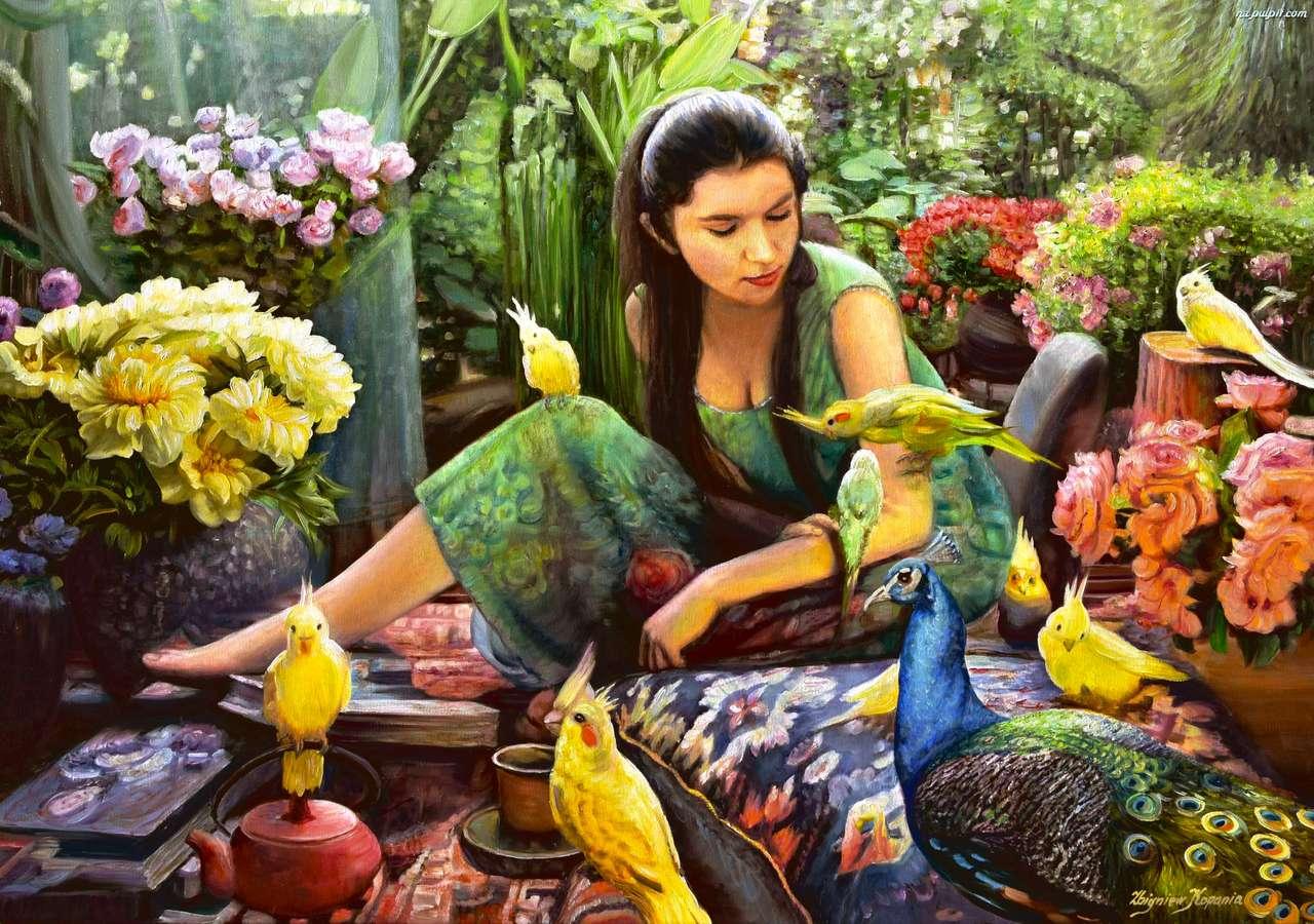 în grădină - fată în grădină cu un păun (14×10)