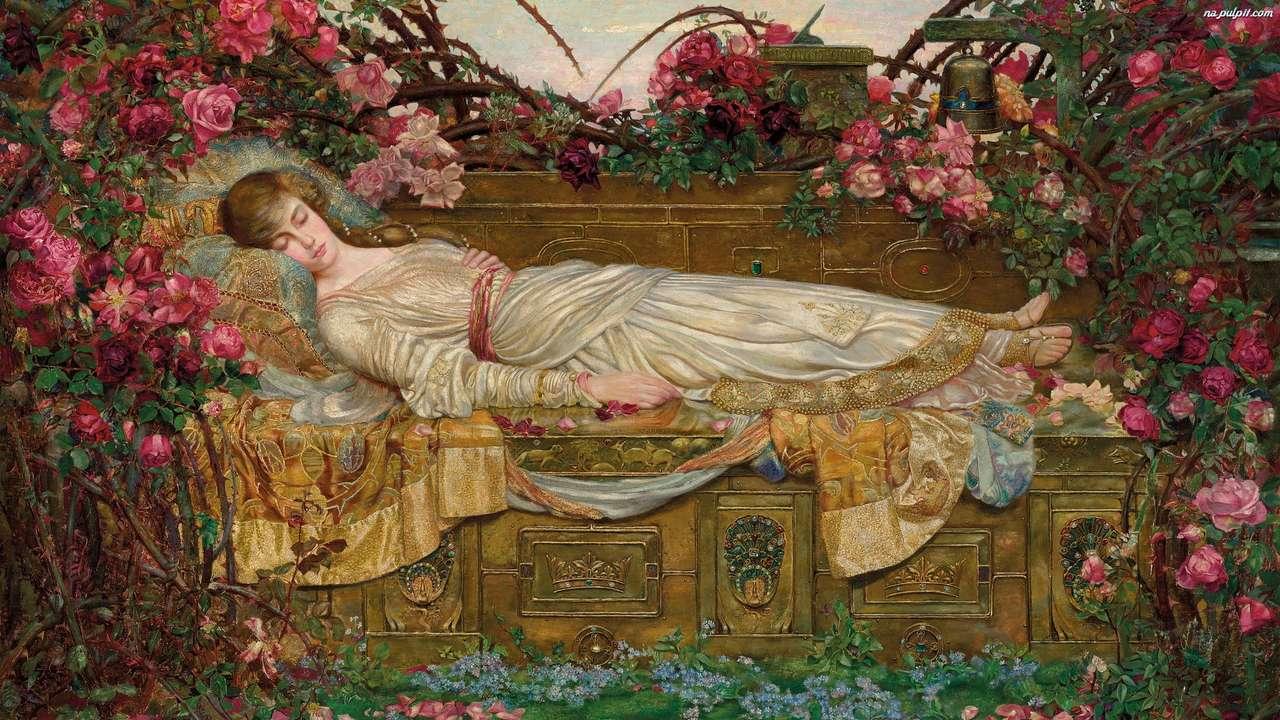 живопис - спяща жена в градината (14×8)