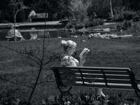 lány ül a padon a szürkeárnyalatos fotózás