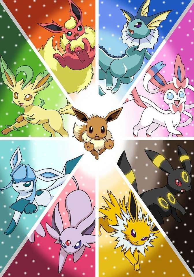 pokemon eeveelutions - pokemons een foto die je het plezier geeft om hem te ordenen (5×8)