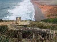 barna fa kerítés a tengerparton napközben