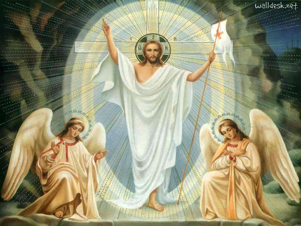 Pasen - Op de eerste dag van de week stond Christus op uit het graf. Toen de vrouwen 's morgens vroeg kwamen om het lichaam met zalf te zalven, vonden ze slechts twee engelen die hun vertelden dat Hij was opg (12×9)