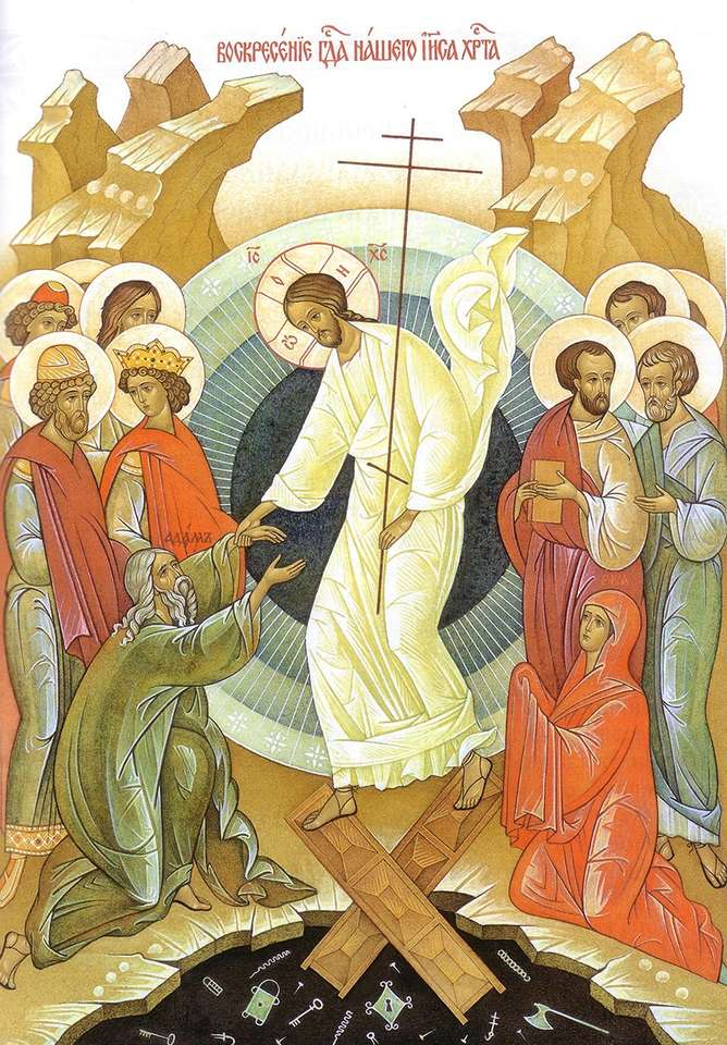 Pasen - De verrezen Jezus Christus haalt Adam en Eva uit de hel (8×12)
