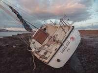 barca de pescuit albă și maro pe malul mării în timpul zilei