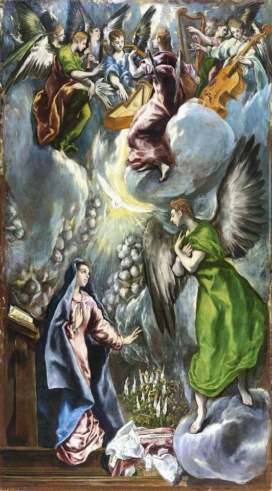 Az Angyali üdvözlet (Colegio El Greco festménye) - Az Angyali üdvözlet - olajfestmény a görög származású Dominicos Theotokopulos spanyol festőművészből, El Greco néven (3×6)
