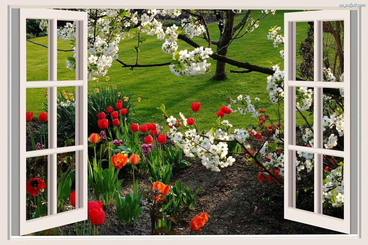 În afara ferestrei - vederea din fereastra de primăvară deschisă (13×9)