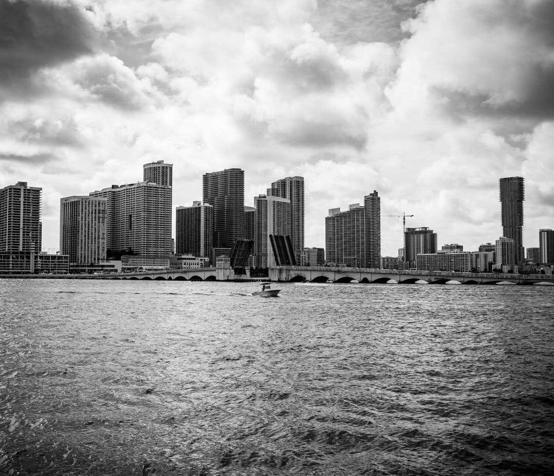 fotografie în tonuri de gri a orizontului orașului - Cerurile acelea din Miami. Miami, FL, SUA (19×17)