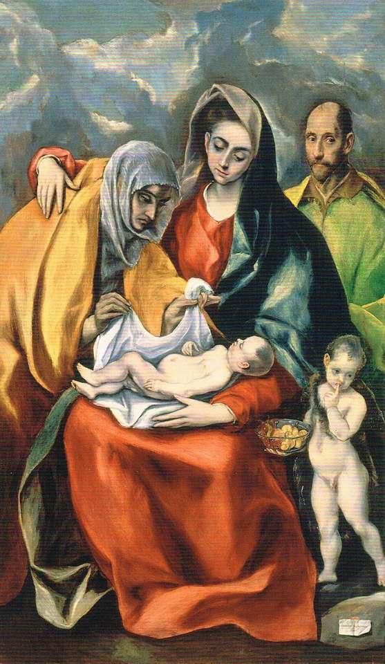 Heilige Familie met St. Anna en baby St. Jan - Heilige Familie met St. Anna en baby St. Johannes de Doper - een olieverfschilderij van een Spaanse schilder van Griekse afkomst Dominicos Theotokopoulos, bekend als El Greco (3×6)