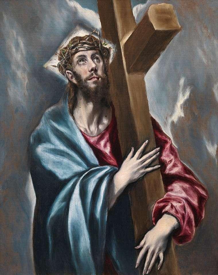 Krisztus, aki a keresztet hordozza (El Greco festménye) - A keresztet hordozó Krisztus (spanyol El expolio) - Dominicos Theotokopulos görög származású spanyol festőművész olajfestménye, El Greco néven ismert. A festmény alá van írva: domènikos (3×5)