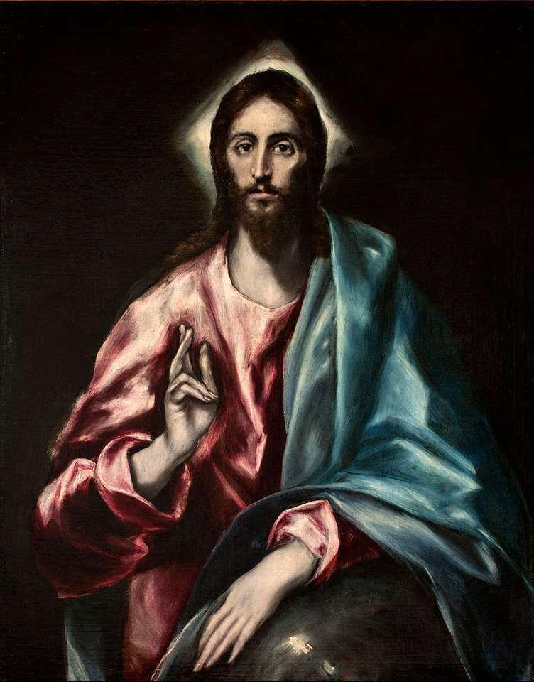 Krisztus mint Megváltó - Krisztus mint Megváltó (Salvator Mundii) - Dominicos Theotokopoulos görög származású spanyol festőművész festménye, El Greco néven ismert (3×5)