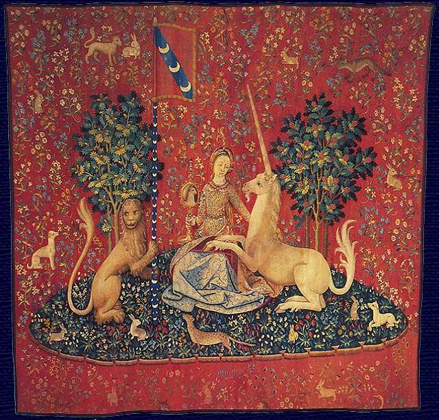 Lady with a unicorn (series of tapestries) - Lady with a unicorn (French: La Dame à la licorne) - a set of six late Gothic tapestries woven in Flanders from wool and silk. The cardboard boxes that make up the designs for fabrics were made in Pa (4×4)