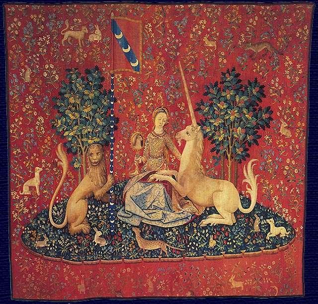 Dame met eenhoorn (serie wandtapijten) - Dame met een eenhoorn (Frans: La Dame à la licorne) - een set van zes laatgotische wandtapijten geweven in Vlaanderen van wol en zijde. De kartonnen dozen waaruit de ontwerpen voor stoffen bestaan, w (4×4)