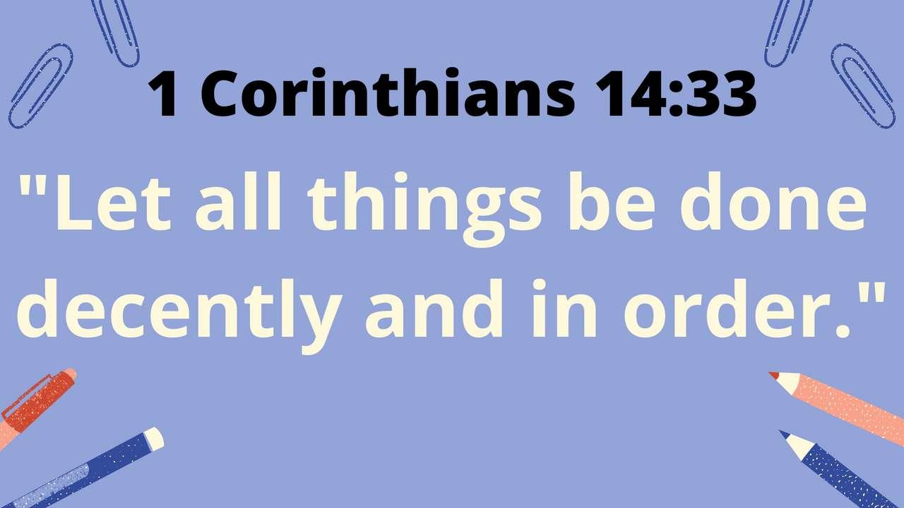 SMV 1 Coríntios 14:33 - Reorganize o versículo de 1 Coríntios 14:33 (5×3)