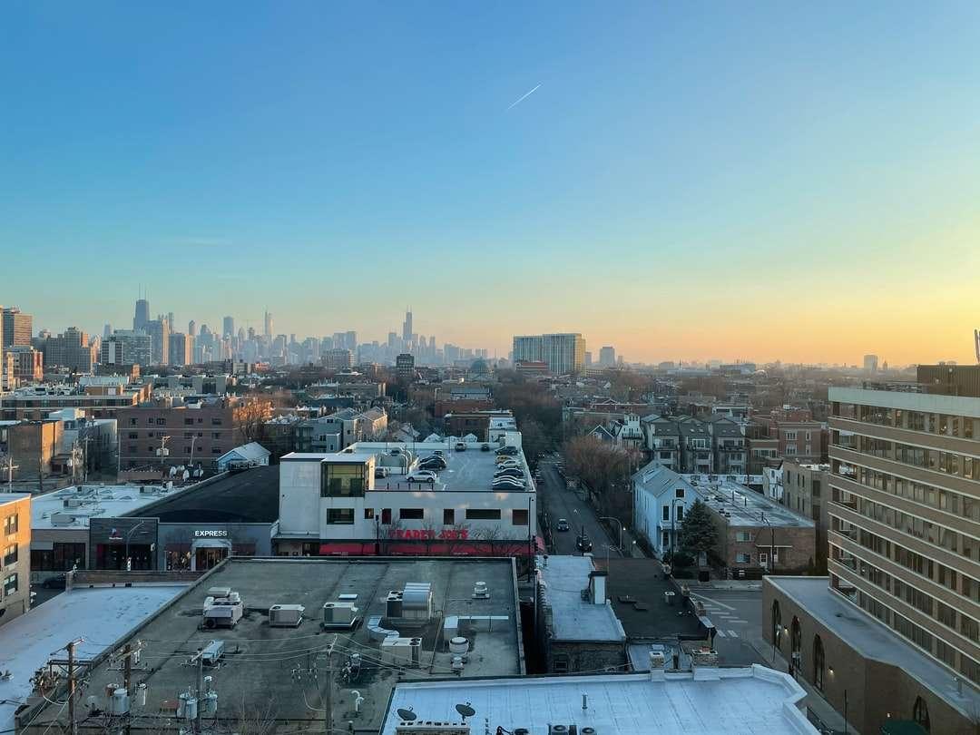 edifícios da cidade sob o céu azul durante o dia - Uma vista sobre o Lincoln Park e o centro de Chicago. Lincoln Park, Chicago, Estados Unidos (17×13)