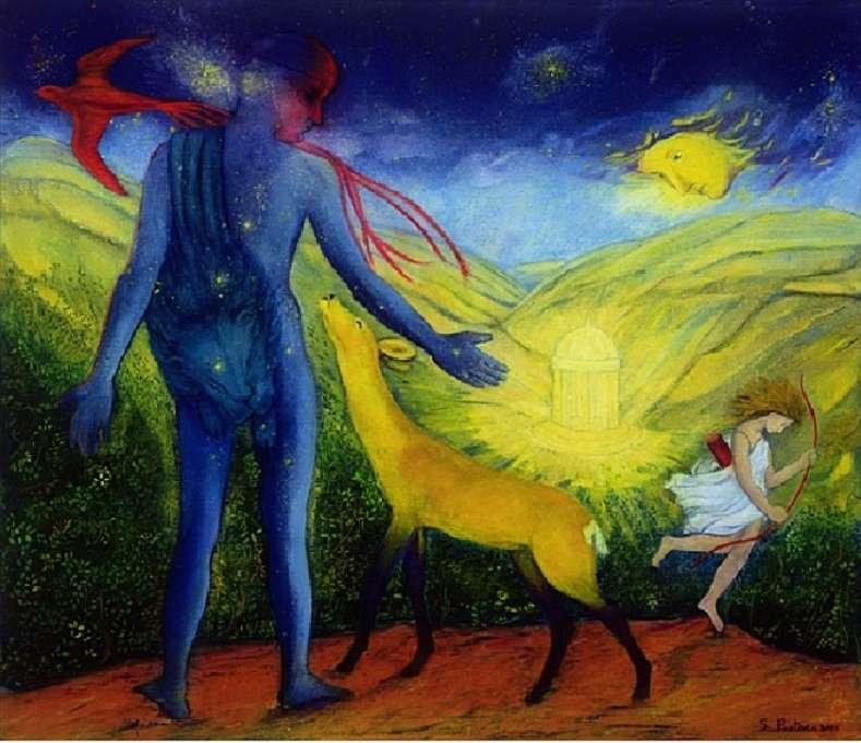 """Ercole e la cerva d'oro - Il dipinto di Silvia Pastore """"Ercole e la cerva d'oro"""" (11×10)"""