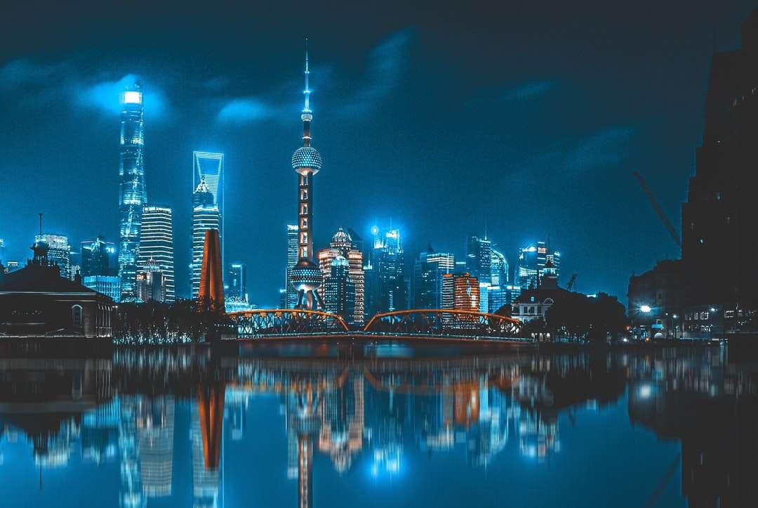 city skyline across body of water during night time - Shanghai at night. Shanghai, 上海市中国 (5×4)