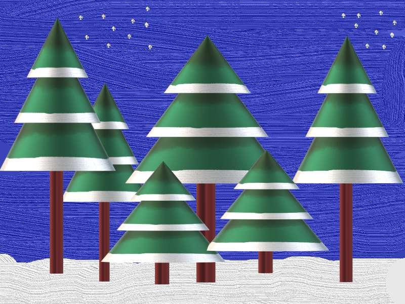 Зимна гора през нощта - Зима, гора и красиви борове през нощта (9×7)