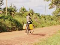 Frau im braunen Kleid Fahrrad fahren auf Feldweg