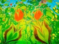 orange grön och blå abstrakt målning