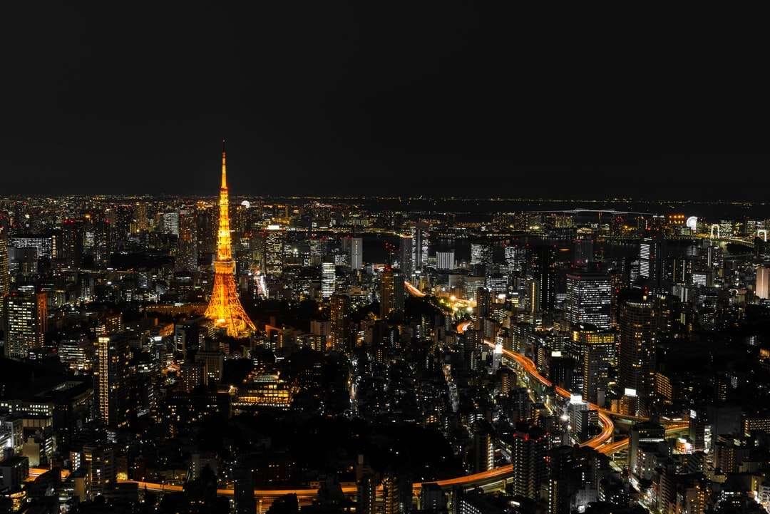 città con grattacieli durante la notte - Paesaggio urbano di Tokyo di notte, visto dalla cima di uno degli edifici più alti di Roppongi Hills, con la Tokyo Tower illuminata che brilla nell'oscurità. Esposizione prolungata. Tōkyō, Tokio, (7×5)
