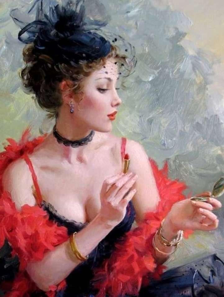 Mandami a col boa di struzzo - Donna elegantemente raffinata dentro a un bistrot (10×14)