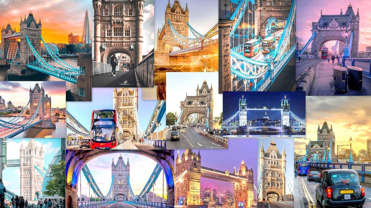 LONDRA-COLLAGE - IL COLLAGE MOSTRA LE FOTO DEL CARATTERISTICO BRIDGE DI LONDRA -TOWER-BRIDGE (19×11)