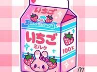 Cute kawaii strawberry milk