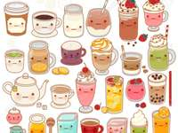 Cute kawaii hot and cold drinks