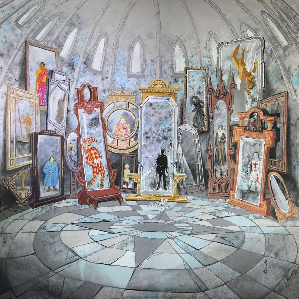 бели и сини керамични подови плочки - Стая с огледала, в която се отразява зрителят. Вижда ли социалните си маски или последователността на миналит (8×8)
