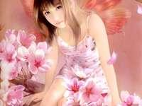 Manó virágokkal körülvéve