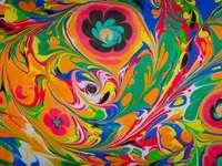 peinture abstraite jaune et vert violet